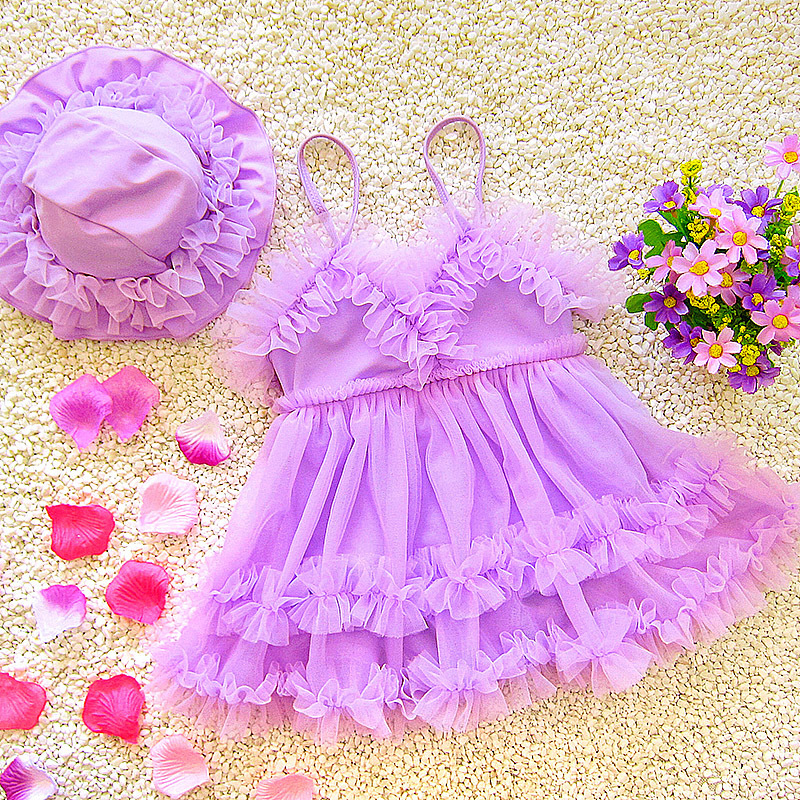 Dress-Large And Medium-sized Baby Princess Hot Springs Bathing Suit Catwalks Korean-style Infants Children GIRL'S With Hat