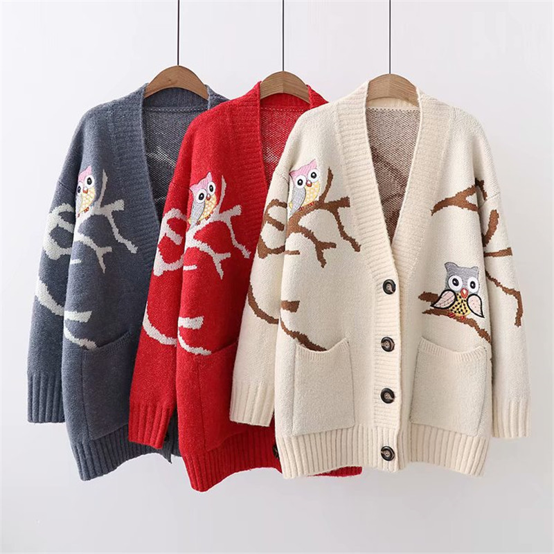 Female New Arrival Sweater 2019 Autumn Winter Fashion Women Cardigan Animal Print Knit Outerwear Beige Blue Red