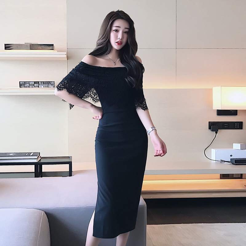 Autumn Clothing 2019 New Style WOMEN'S Dress Korean-style Fashion Debutante Off-Shoulder Sexy Lace Joint Slim Fit Sheath Dress