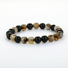 2 Color High Quality Natural Stone Beads Bracelets Bangle Lucky Charm Black Iron Loose Weight Tiger Eye Men Bracelet