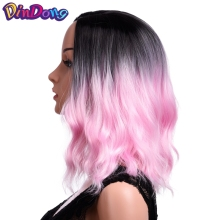 DinDong Synthetic Ombre Red Blue Pink Wigs 14