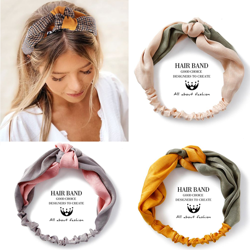 Fashion Women Elegant Soft Headband Vintage Cross Knot Elastic Hair Bands  Solid Girls Hairband Hair Accessories