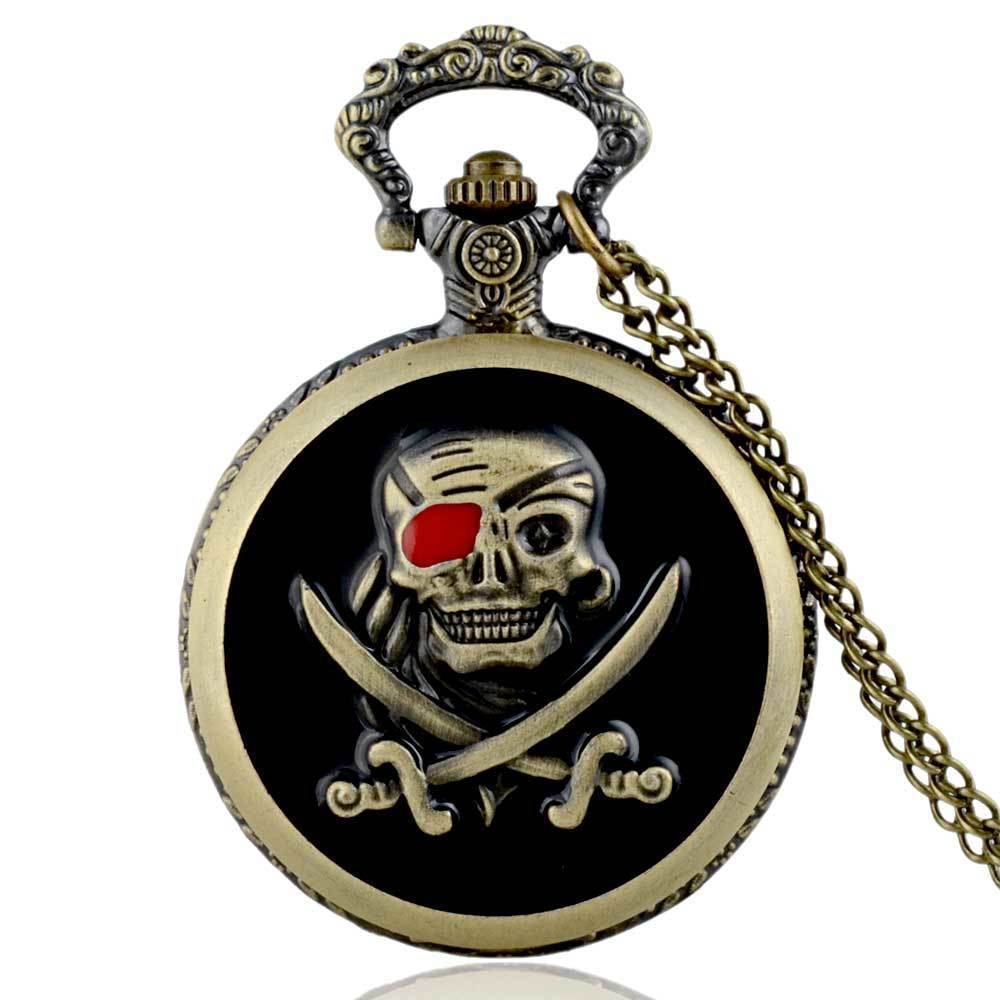 IBEINA Skull Theme Full Hunter Quartz Engraved Fob Retro Pendant Pocket Watch Chain Gift