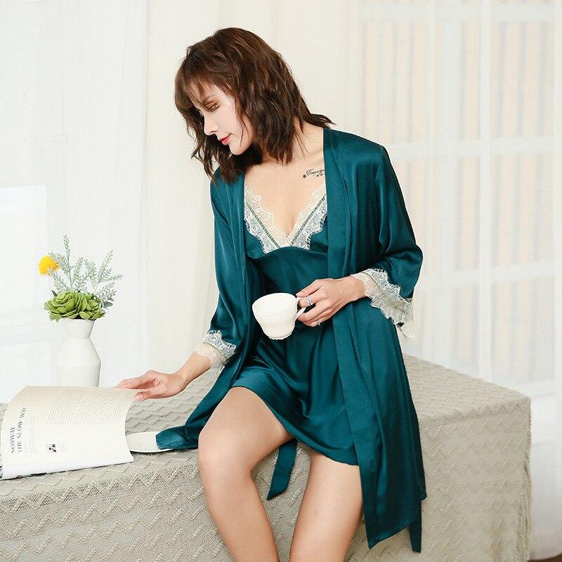 QWEEK Sleepwear Dressing Gown 2 Piece Set Women Lace Sexy Woman Nightie Robe And Nightgown Set Home Dress 2020