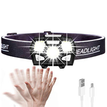 Portable Rechargeable LED Headlamp Fishing Headlight 5 Modes Adjustable Waterproof Super Bright Light for Camping Fishing Sports