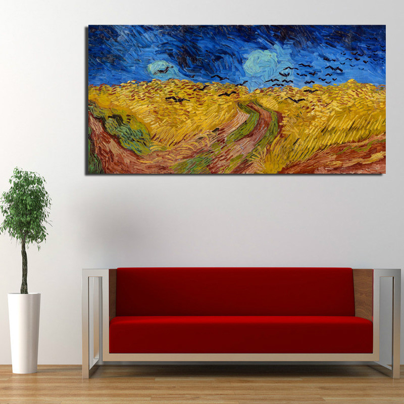 Van Gogh Corn Field With Crows Wall Art Canvas Painting Posters Prints Modern Painting Wall Pictures For Living Room Home Decor in Painting Calligraphy from Home Garden