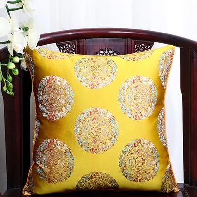 Чехол для подушки для автомобильного стула с цветами 40x40 см 45x45 см 50*50 60*60 китайские красочные диванные Декоративные Чехлы для подушек, шелковая атласная наволочка - Цвет: yellow 5 dragon