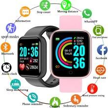 Reloj inteligente con control del ritmo cardíaco y de la presión sanguínea para hombre y mujer, pulsera monitor, seguidor Fitness para Android e IOS