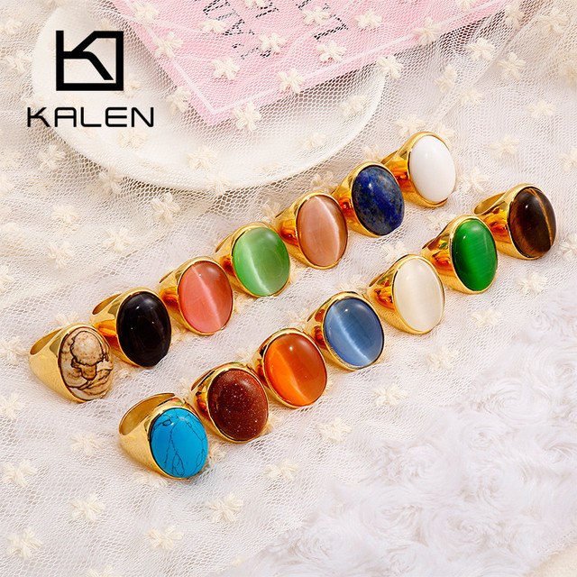 KALEN Oval Colourful Big Marble Stone Wedding Bands Rings For Women Gold Color Stainless Steel Mujer Anillos Party Jewelry