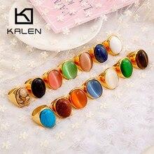 Kalen Ovale Kleurrijke Grote Marmeren Steen Trouwringen Ringen Voor Vrouwen Goud Kleur Rvs Mujer Anillos Party Sieraden