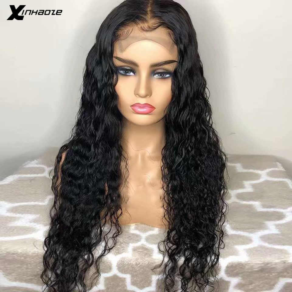 Głębokie części wody faliste peruki z ludzkich włosów 13*6 mokre i faliste koronki przodu peruki brazylijski koronki przodu peruka wstępnie oskubane bielone węzłów