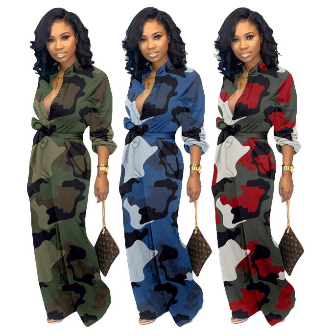VAZN LDS3181 Camouflage Casual Fashion 2019 Sexy Women Jumpsuits Tide Deep V-Neck Long Sleeve Elasticity Tracksuits Long Romper