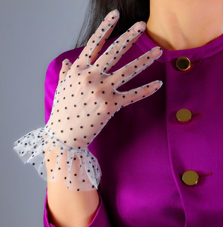 Women's Sexy Transparent Dot Print White Mesh Glove Female Summer Sunscreen Club Party Dancing Lace Glove R2947