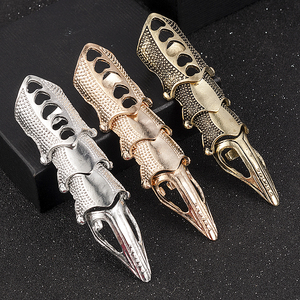 Cool Men Boys Punk Gothic Rock Scroll Joint Armor Knuckle Metal Full Finger Rings Gold Cospaly DIY Rings