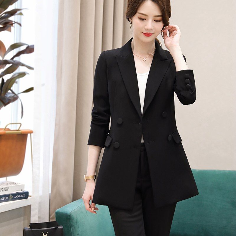 Lenshin Women Double Breasted Jacket Long Sleeve Blazer Fashion Work Wear Slim Office Lady Coat Outwear