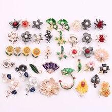 Flores de plantas cristal Vintage insignia broches primavera colorida flor esmalte planta solapa alfileres broches boda dama de honor joyería