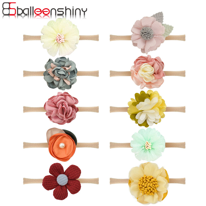 Balleenshiny Baby Girls Floral Flower Headwrap Headwear Photo Prop Infant Kids Cute Princess Elastic Headband Hair Accessories
