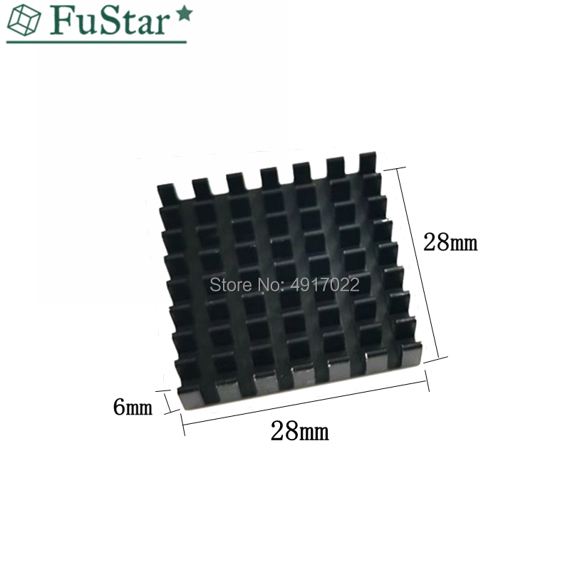 10P Heat Sink 28*28*6MM (black Broken Groove) Radiator Open Slot Heatsink Cooling Fin Aluminum Heat Sink Radiator Cooler 28x28x6