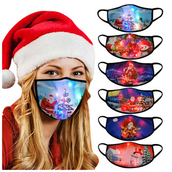 1PC Face Mask Led Christmas Mouth Mask Light Up Lights Glowing Mouth Caps Washable Men Women Mascarillas Rosa Mondkapjes Wasbaar image