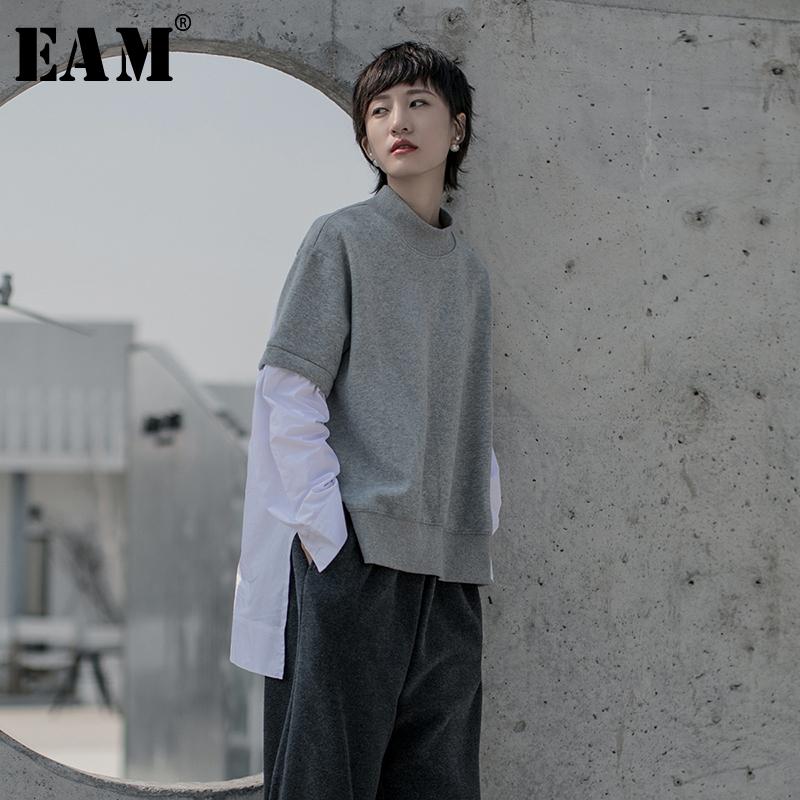 [EAM] Women Back Long Asymmetrical Big Size T-shirt New Stand Collar Long Sleeve  Fashion Tide  Spring Autumn 2020 1R609