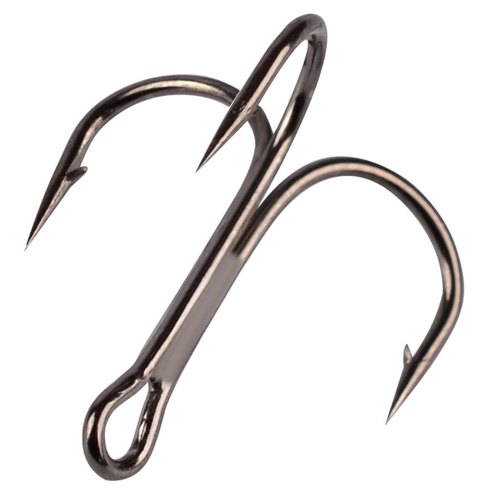 50Pcs/lot  Fishing Treble Hook Size 2/4/6/8/10/12/14 High Carbon Steel Sharp Barbed Black/Brown/White