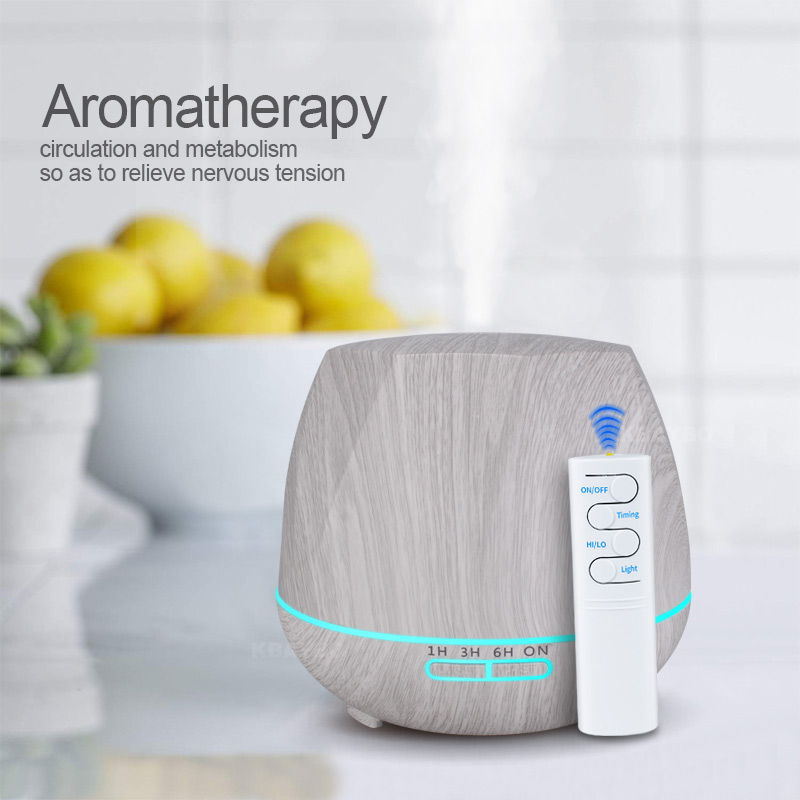 550ml White Wood  Air Humidifier With Remote Control Aroma Essential Oil Diffuser Aromatherapy Mist Maker Fogger For Home