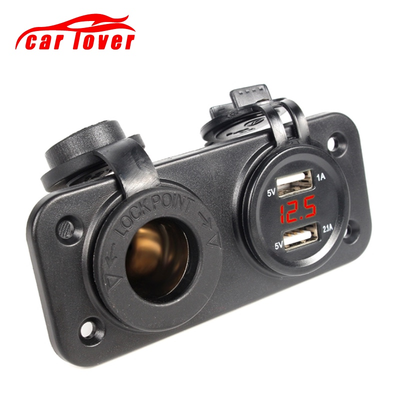 12-24V Motorcycle Dual <font><b>USB</b></font> Socket <font><b>Charger</b></font> Power Adapter Outlet Power Mobile Phone <font><b>Charger</b></font> with LED for Auto Car Truck ATV Boat image
