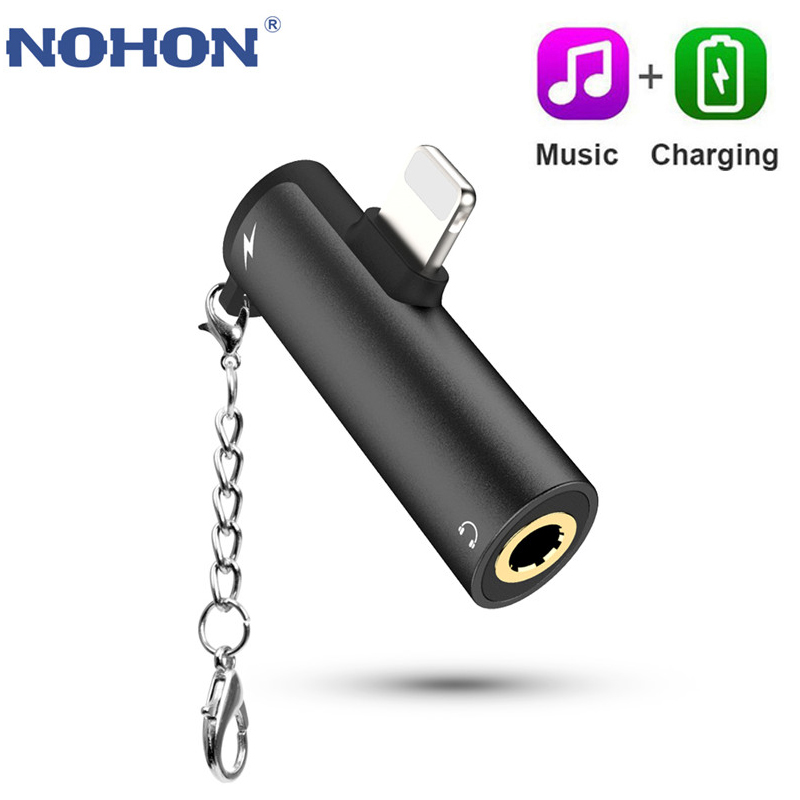 Headphone 2-in-1 3.5mm Jack Audio Earphone Adapter For IPhone 7 8 6 6S Plus X XS 11 Pro XS Max Splitter Fast Charger Accessories