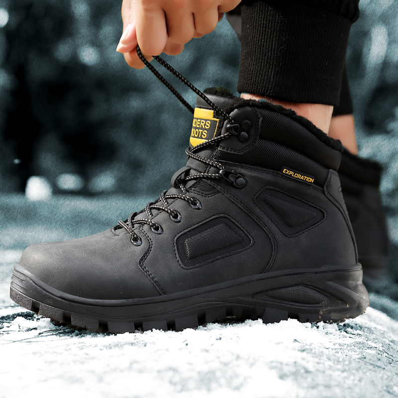 Coturno High Top Mens Boots Leather Winter Snow Boots Men Waterproof With Fur Keep Warm  Round Toe Timber Bot Booties Land Shoes