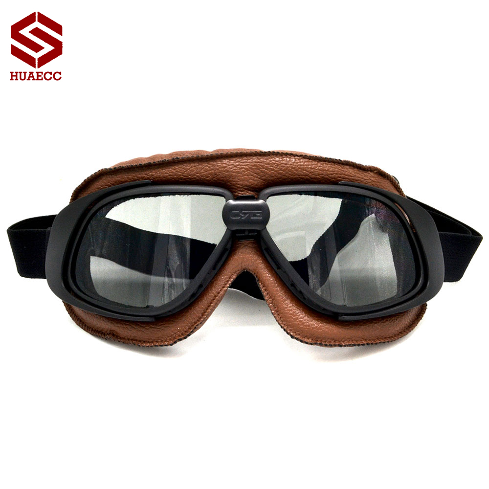 100% Helmet Goggles with Silver Lens Motorcycle Goggle Vintage Pilot Biker Leather for Motorcycle Bike ATV Goggle 5 Colors
