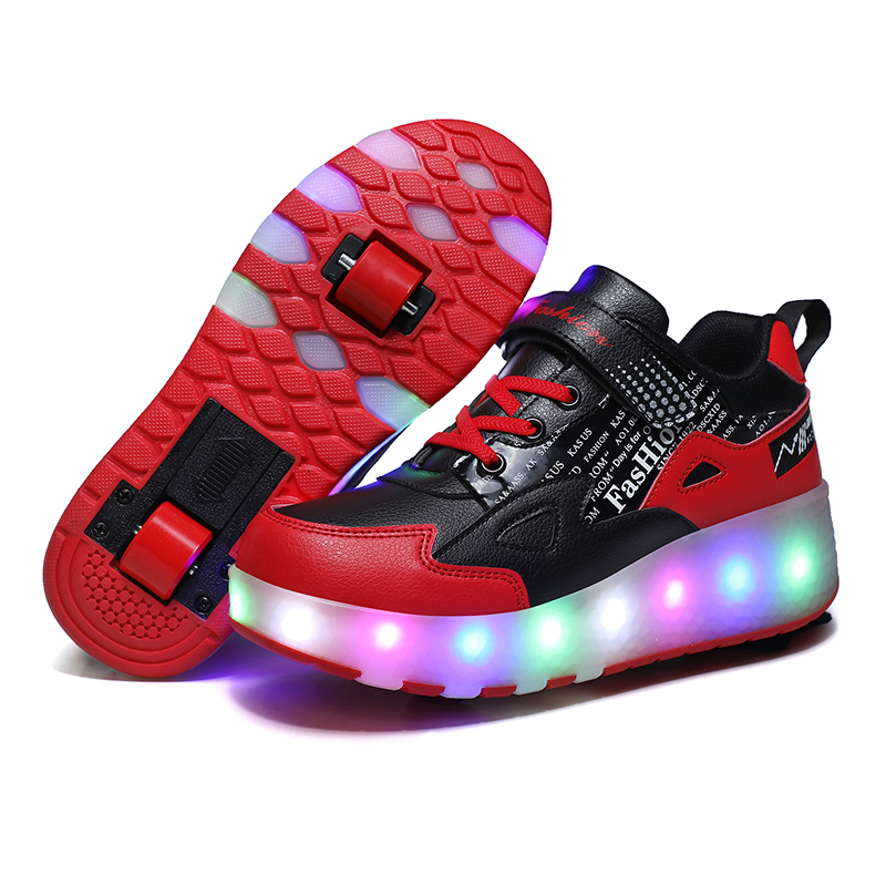 Size 28-39 Led Wheel Sneakers for Kids Boy Girl USB Charging Glowing Roller Shoes with Lights Double Wheels Children Skate Shoes
