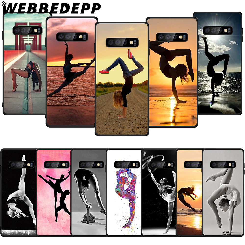 WEBBEDEPP <font><b>Gymnastics</b></font> Silhouette Soft Case for Samsung Galaxy S6 S7 Edge S8 S9 S10 Plus S10e Cover image
