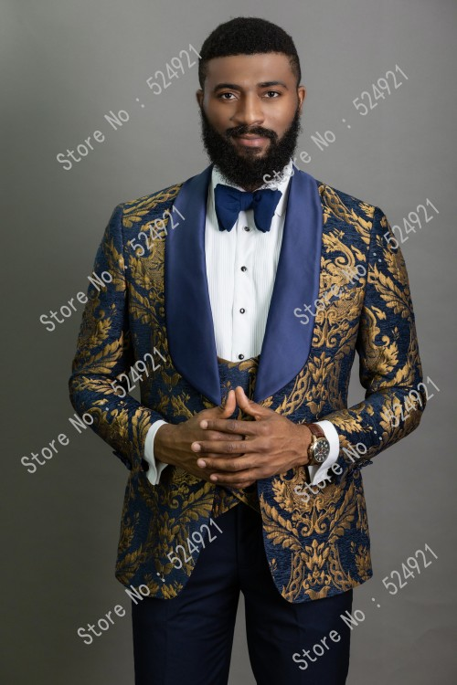 Men Suits Gold Pattern And Navy Blue Groom Tuxedos Shawl Satin Lapel Groomsmen Wedding Best Man ( Jacket+Pants+Vest+Tie ) C699
