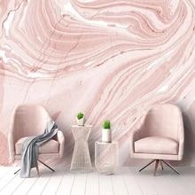 Самоклеящиеся обои на заказ, Современное абстрактное искусство, настенные мраморные фрески с розовым камнем для гостиной, свадьбы, дома, ро...