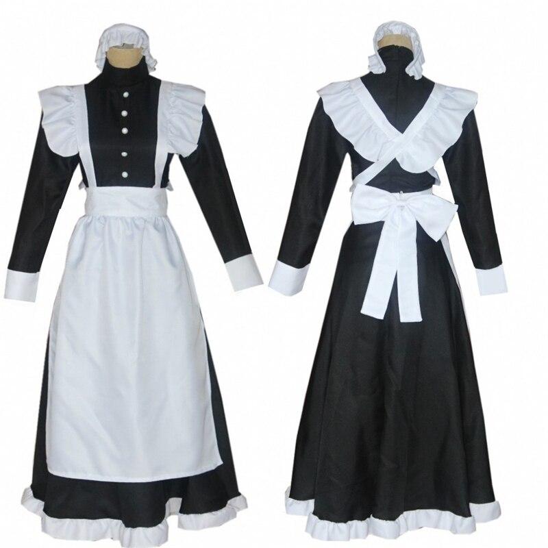 Classic British Gothic Lolita Maid Cosplay Outfit Unisex Uniform Apron Long Sleeve Dress Kawaii Girl Japanese Sale Free Shipping