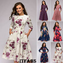 Autumn and winter ladies retro long-sleeved dress floral print slim dre
