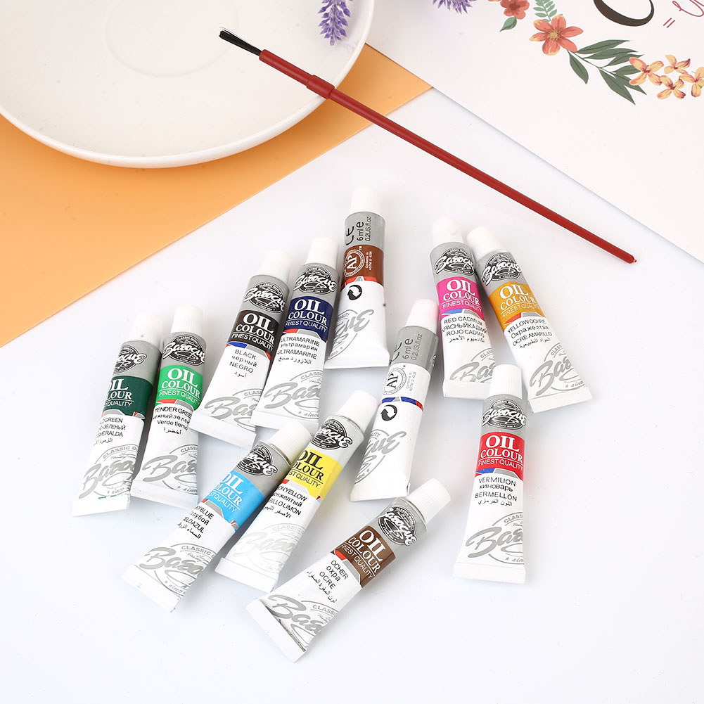 1 Set Oil Painting Brushes Student Art Supplies 6ML Sewing Accessories 12 Colors With Brush Professional Draw Pen Paint Artist