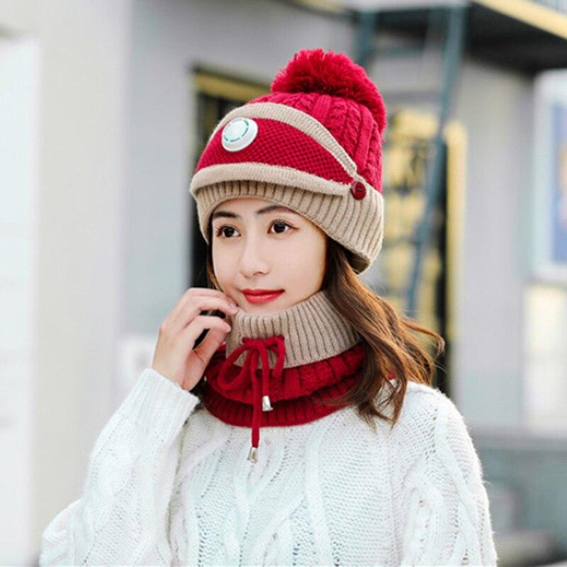 Women's Warm Solid Plus Thicken Scarf Mask Hat Three-Piece Knit Windproof Cap Women Fashion Keep Warm Soft Hats Female