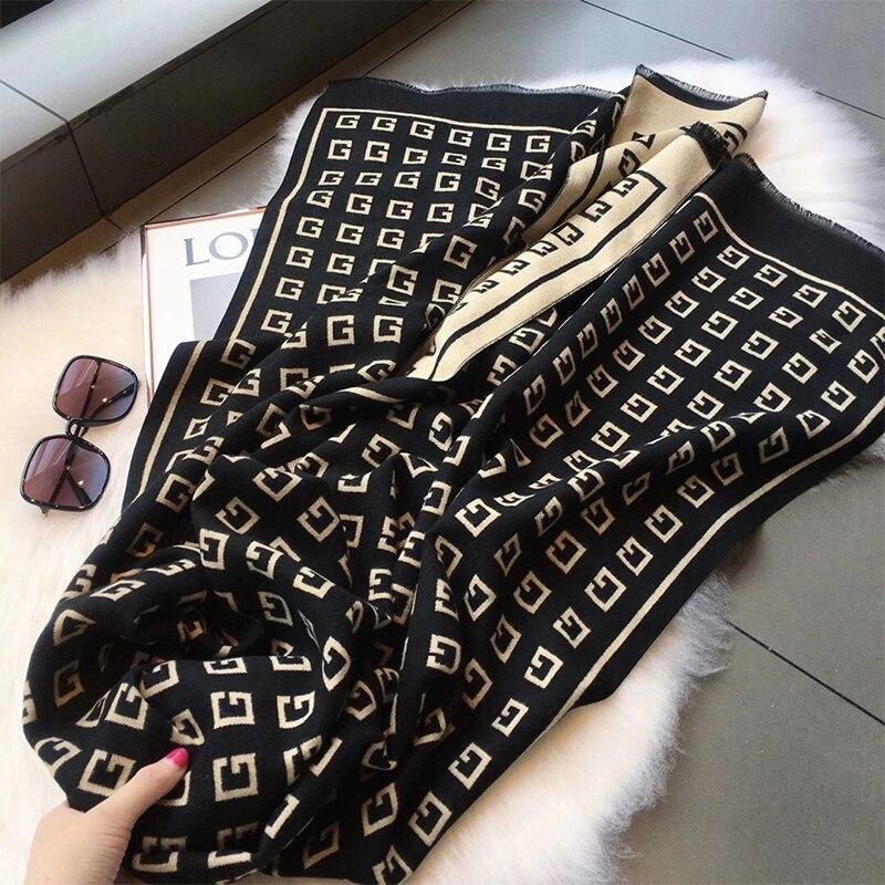 2020 de la marca de lujo de doble cara bufanda de las mujeres de la señora invierno cálido pañuelo de Cachemira estampado animal fino suave manta Holi