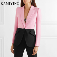 KAMIYING Hit Color Patchwork Blazer For Women Notched Collar Single Button Long Sleeve Elegant Office Lady Coats Fashion New