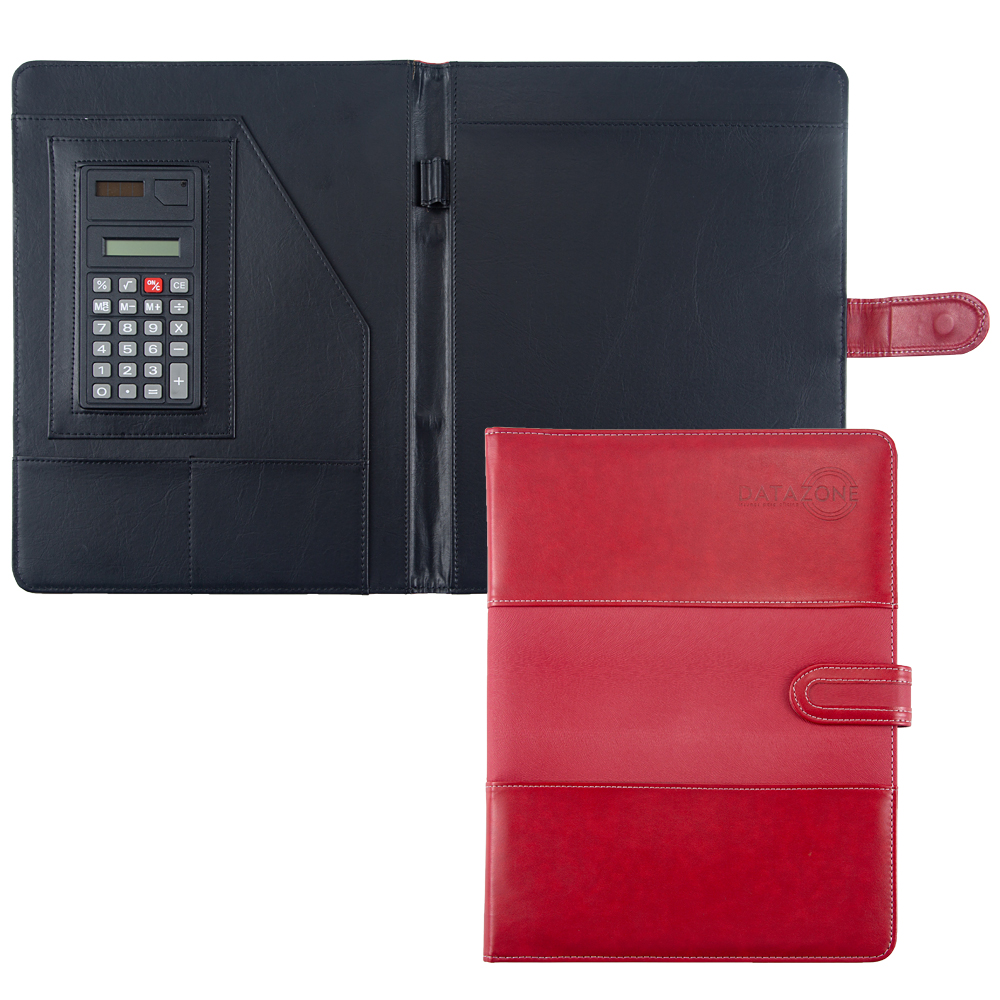 High Quality Red Leather Stationery Folder Padfolio Portfolio Office School Supply Magnetic Document File Folder With Calculator