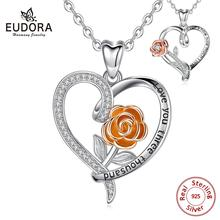 Eudora Sterling Silver Bulgarian champagne rose Pendant Necklace with 45cm chain Rose gold Charm engagement Jewelry 3 New style