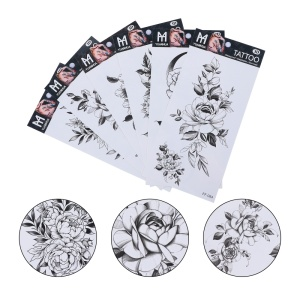 6 pcs Creative Temporary 3D Flowers Sticker Fake Tattoo Arm Decoration for Girls