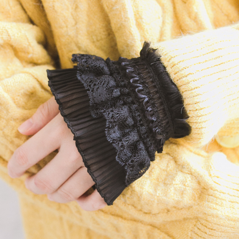 AOMU Gothic Retro Black Vintage Women Sleeve Fake Cuffs Multi Layer Ruffles Lace Patchwork Lolita Princess Sweater Decorative
