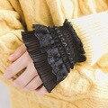 Aomu gótico retro preto vintage manga feminina falso punhos multi camada babados rendas retalhos lolita princesa camisola decorativa