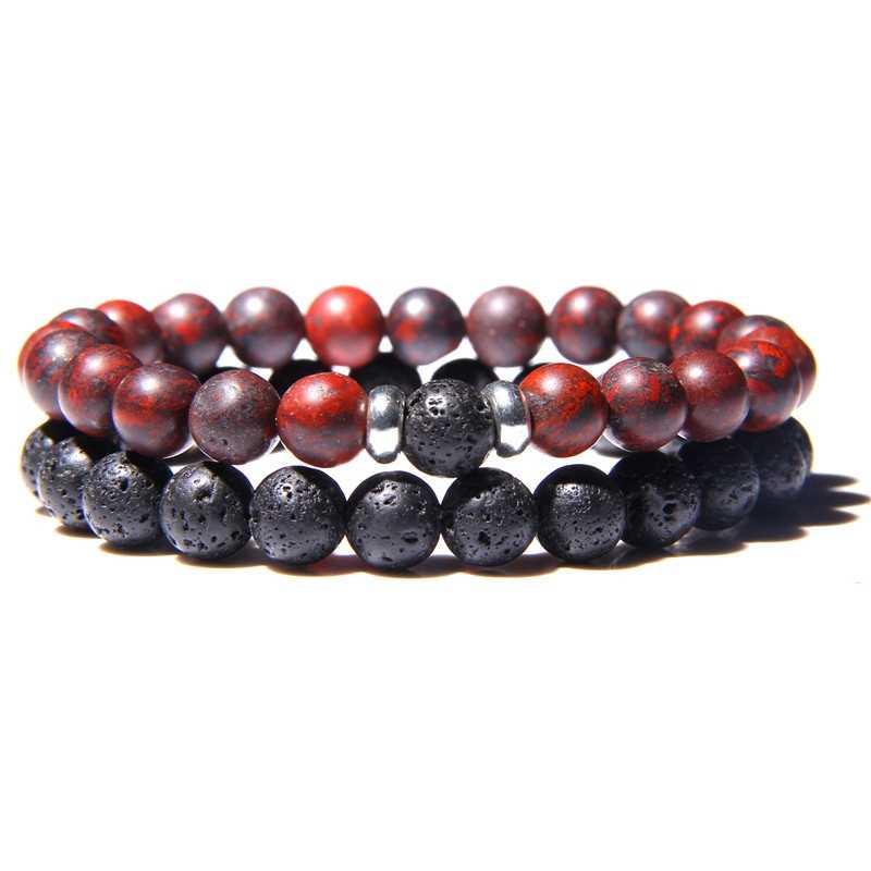 Brazalete con piedras naturales a distancia para parejas de amantes, brazaletes para hombres y mujeres, mejor amigo, regalo del Día de San Valentín