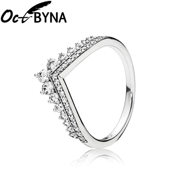 Octbyna Hot Sale Crown Finger Rings For Women Girls Sparkling Zircon Brand Rings Wedding Engagement Jewelry Gift Dropshipping
