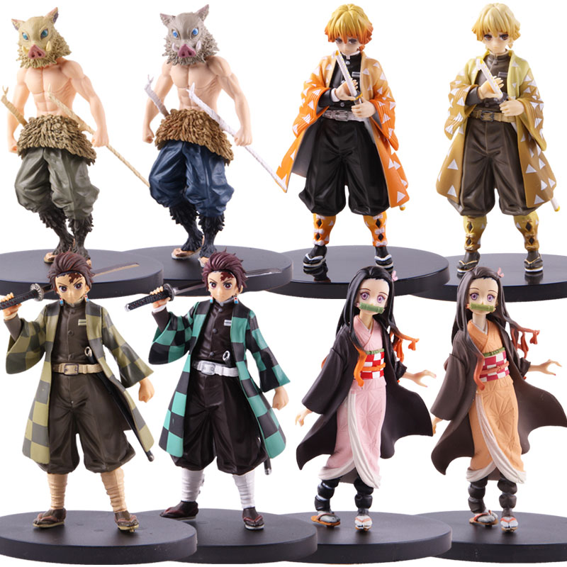 Demon Slayer: Kimetsu No Yaiba Kamado Tanjirou Nezuko Zenitsu Hashibira Inosuke Action Figure Anime PVC Collectible Model Toy