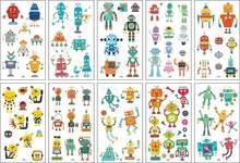 10 pièces autocollant de tatouage temporaire Cool Robot faux Tatoo cadeau pour enfants enfants garçon main pied imperméable transfert tatouages Tatto Art