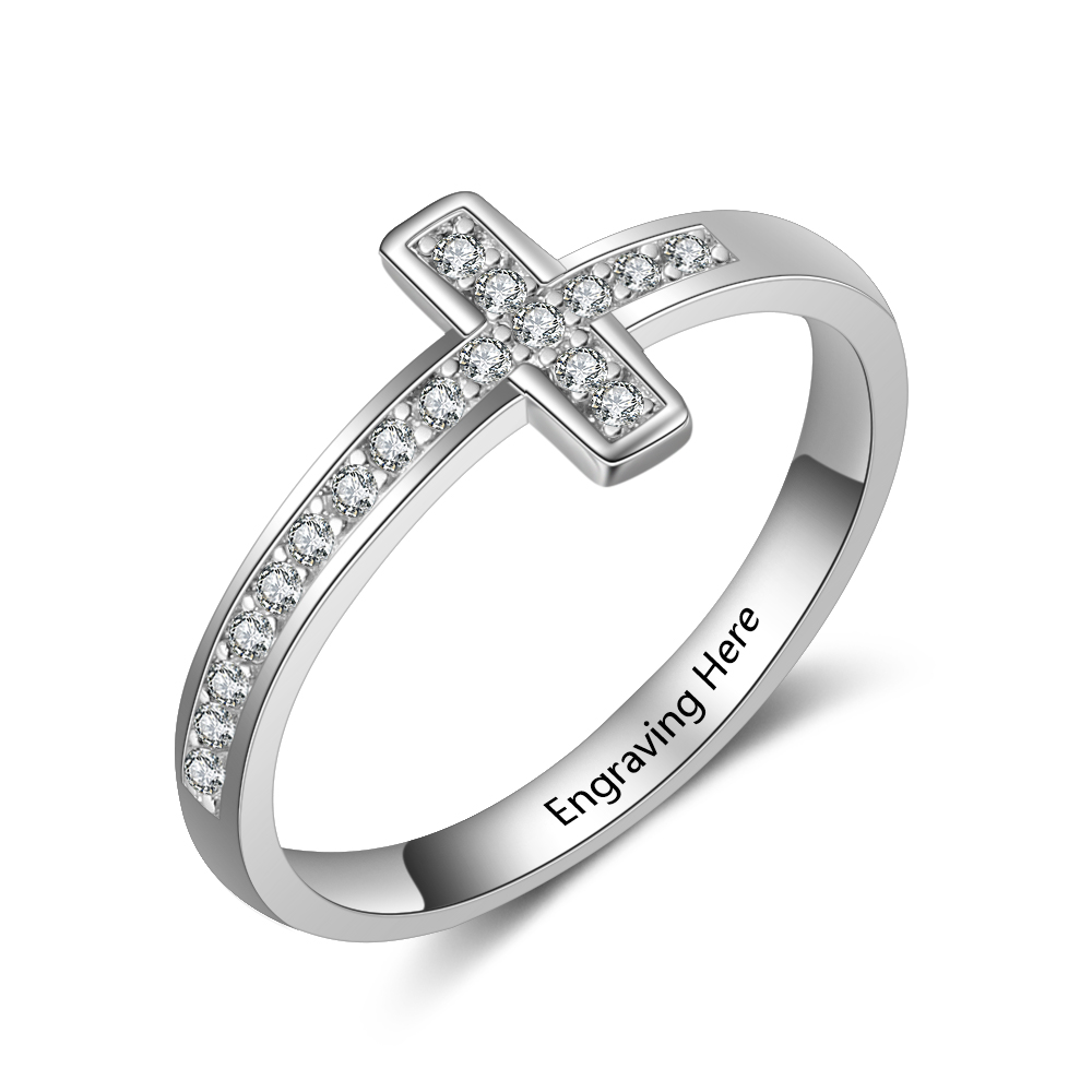 Personalized Engraved Cross Sideway Cubic Zirconia Rings for Women Custom Names Rings Jewelry Accessories Gifts for Her